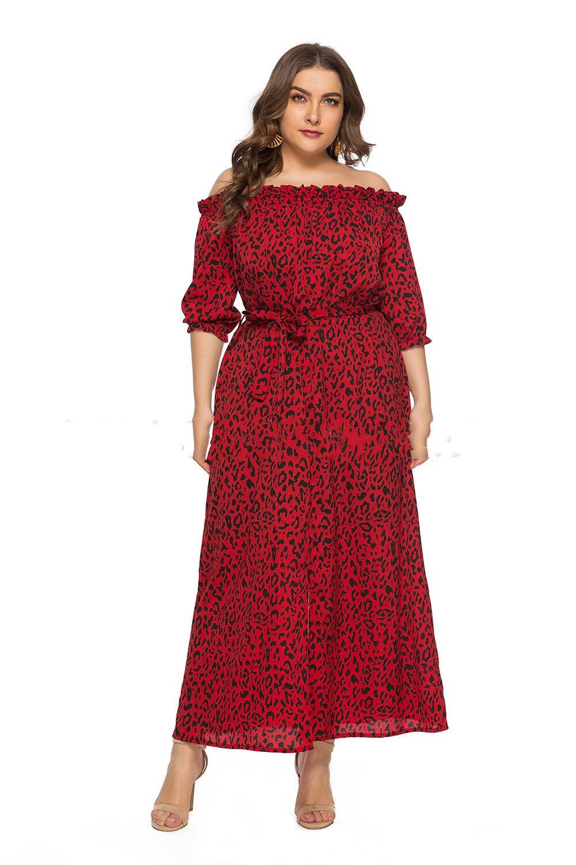XL-6XL Plus Size Dress Women Long Beach Dress Fashion Slash Neck Half Sleeve Maxi Dresses Leopard Print Autumn Summer Vestidos 2
