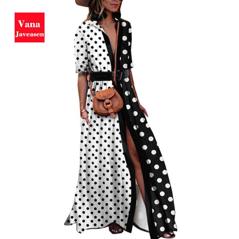 Vana Javeasen Autumn Half Sleeve Women Dress Dot Print V-Neck Woman's Clothing Sashes Evening Party Black Long Dresses Womens