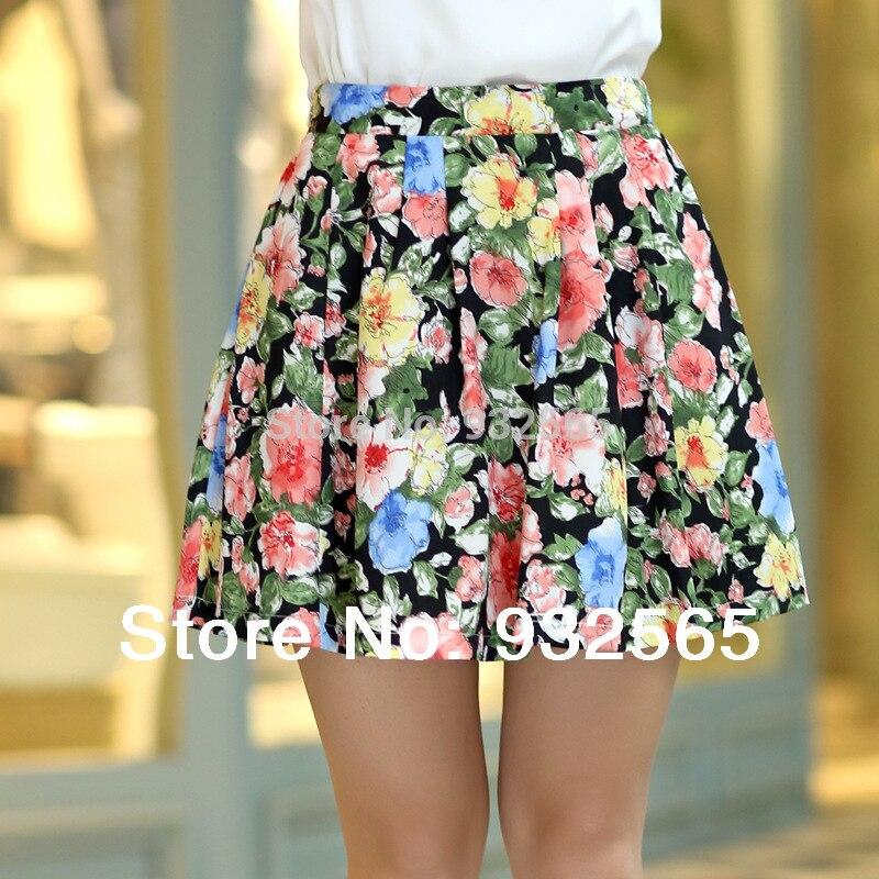17 women's pleated chiffon slim package hip skirt loose skirt short skirt female bust saia femininas skirts Plus size XXL 2
