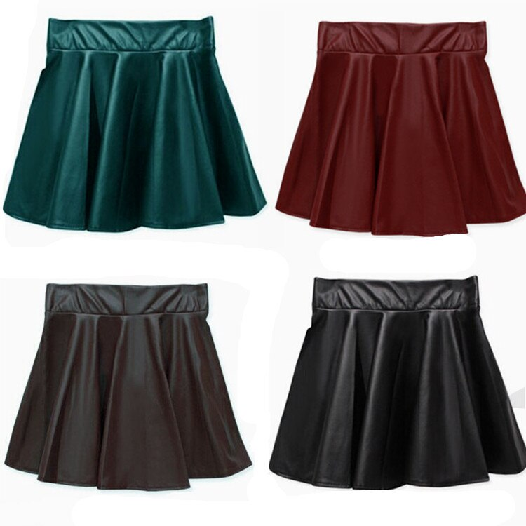 19 New spring and summer fashion style Korean retro Black PU Leather skirt pleated faux leather skirt Drop shipping 2