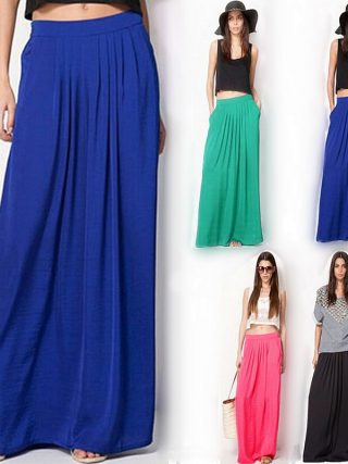 Summer Vintage Long Skirt Womens saia Elastic Waist Elegant Thin Pleate Skirt Ladies Casual Beach Solid Maxi Skirts faldas