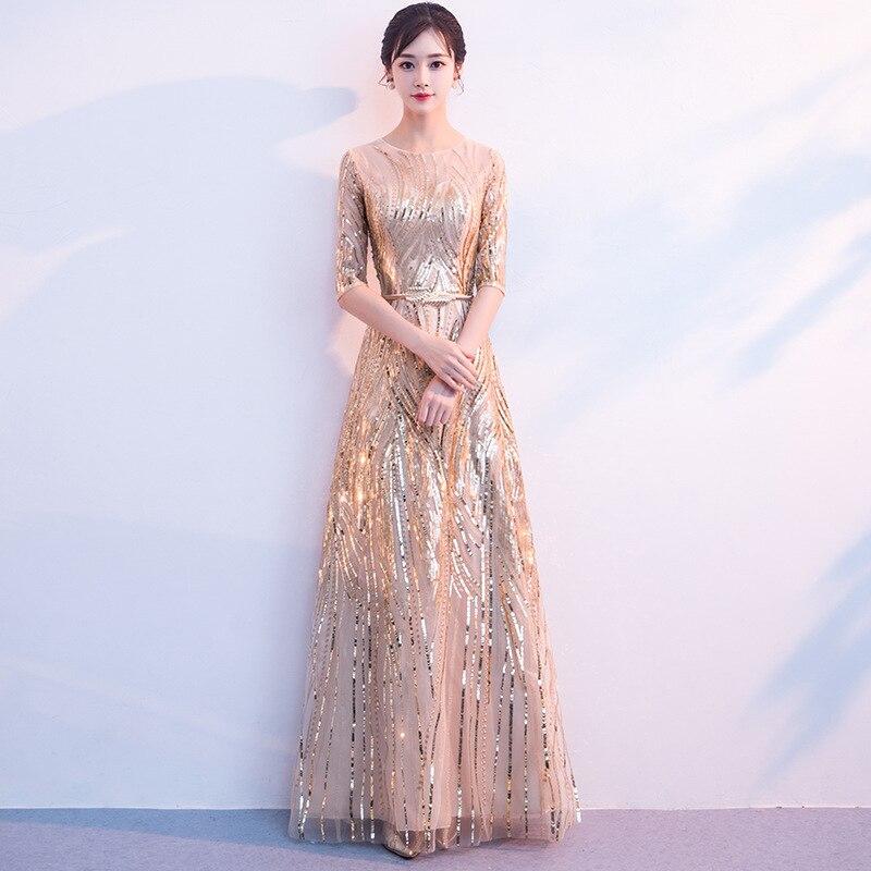 Women's Long Sequined Bling Bling Dress Glitter Longer Party Dress Elegant Rainbow Dresses Empire Waist Half Sleeve Dresses