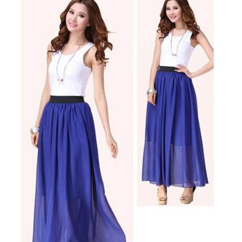 New Brand Fashion Designer Sexy Style Skirt Women Sexy Chiffon Candy Color Long Skirt High Quality Nice designs Hot selling 2