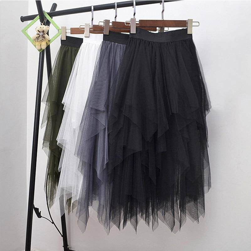 Long Tulle Skirt Women Fashion High Waist Irregular Hem Mesh Tutu Skirt 17 Summer Beach Skirt Ball Gown Ladies 1