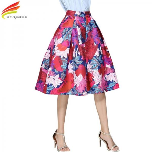 Faldas Vintage 18 Retro Big Swing Red Skirt Print Cartoon A-Line Saias Midi Skirts High Waist Elegant Tutu Pleated Jupe Femme