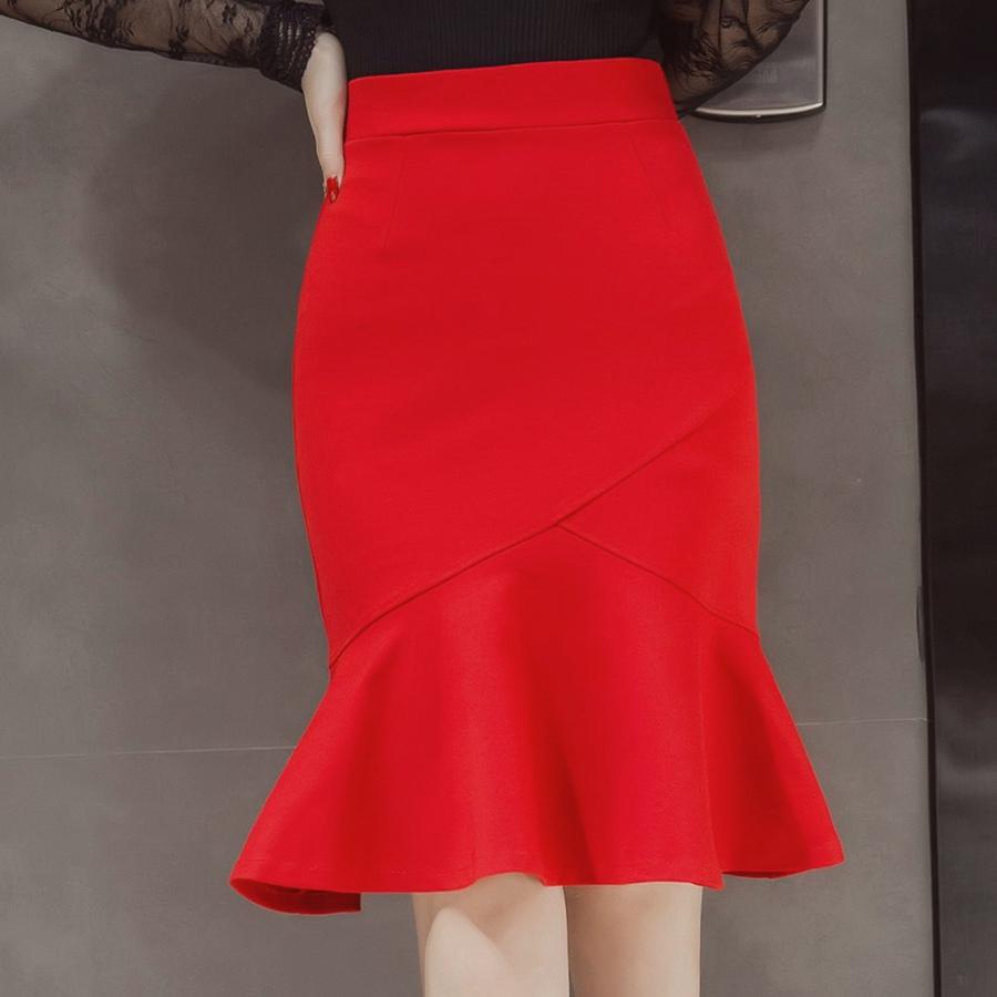 S-5XL 19 Women Pencil Skirt Fashion OL Slim Bodycon Business Wear Ruffles Hem Mermaid Style Plus Size Ladies Office Skirt 2