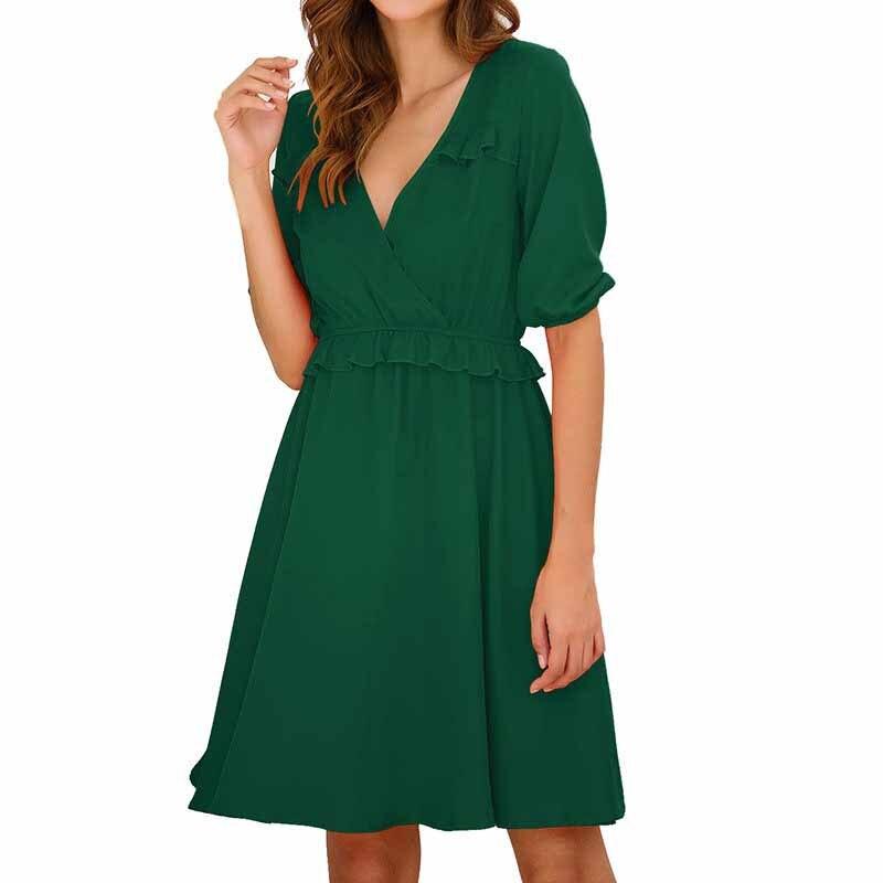 19 Summer Women A-Line Dress Sweet Solid Ruffled Dress Ruffles Half Sleeve V-Neck Mini Dress 2