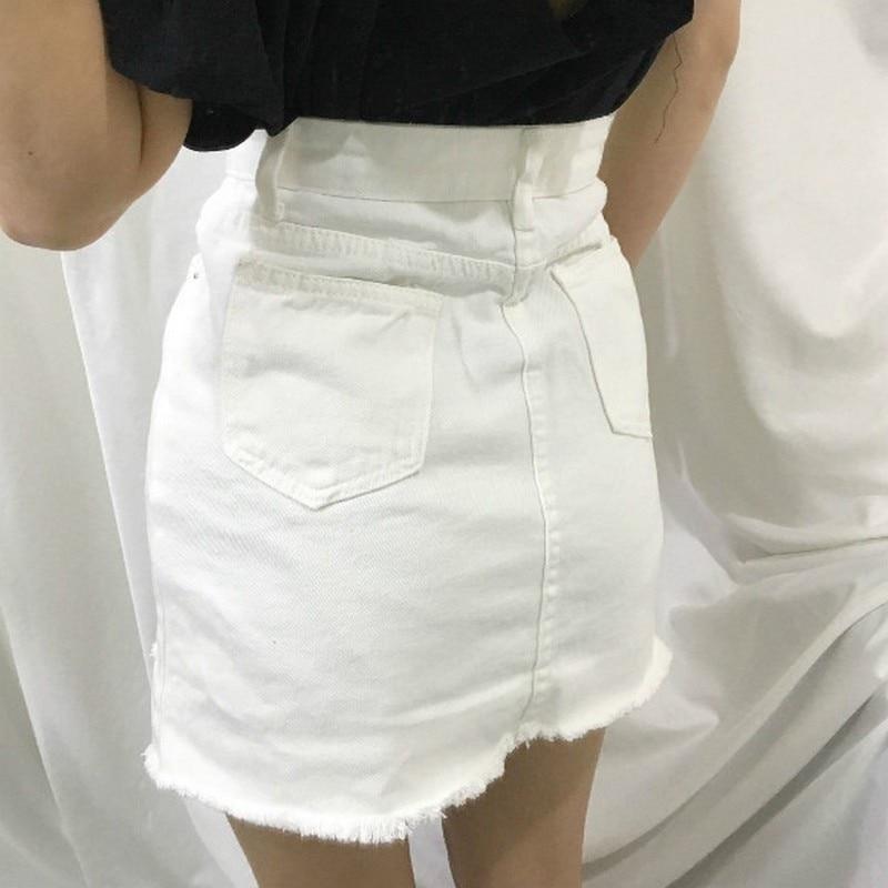 Sexy Women's Skirt Casual Korean Skirts Womens Summer Hole New Mini Skirt Women Fashion Skirts 19 White Black Denim Skirt 2