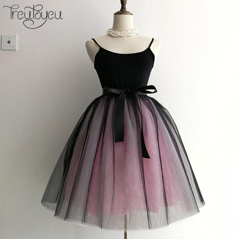 7 Layers 65cm Long Women Skirt Princess Tutu Tulle Skirts Fashion Ball Gown Lolita Skirt Summer Saias Femininas faldas Jupe 2