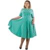 18 Women Summer Casual Dress Loose Knee Length Dresses Elegant Dots Printed Plus Size O-Neck High Waist Half Sleeve Dresses