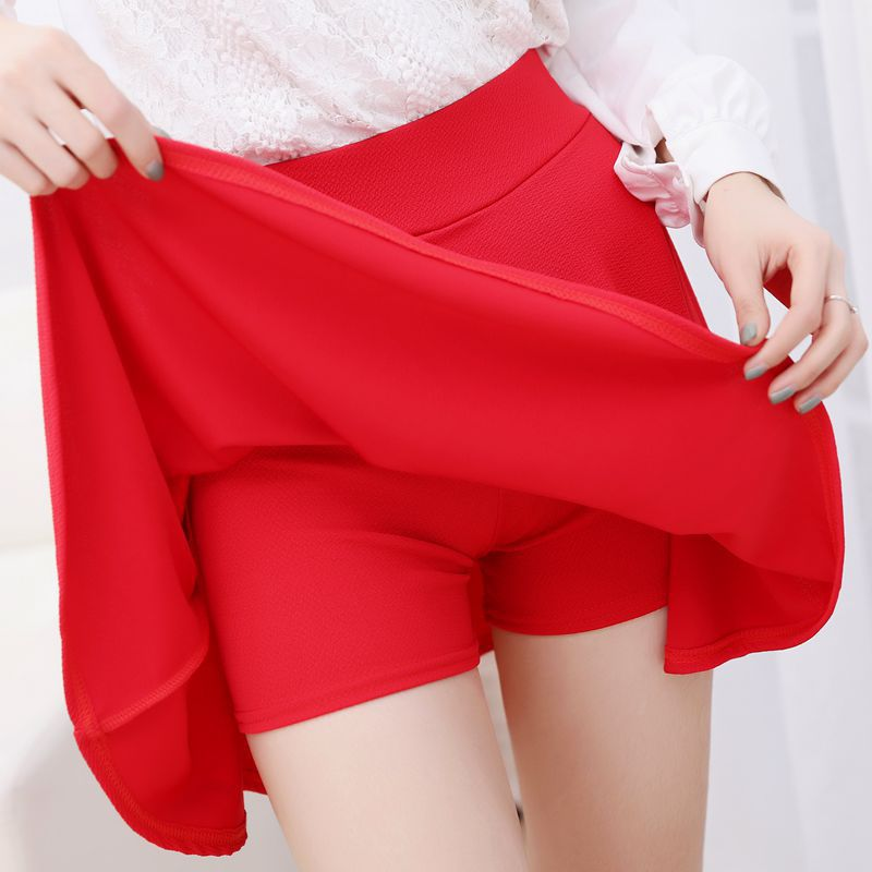 Danjeaner Korean Style Safty Skirts Women High Waist Candy Color Casual Mini Skirts Ladies Solid Elastic Wasit Pleated Skirts 3
