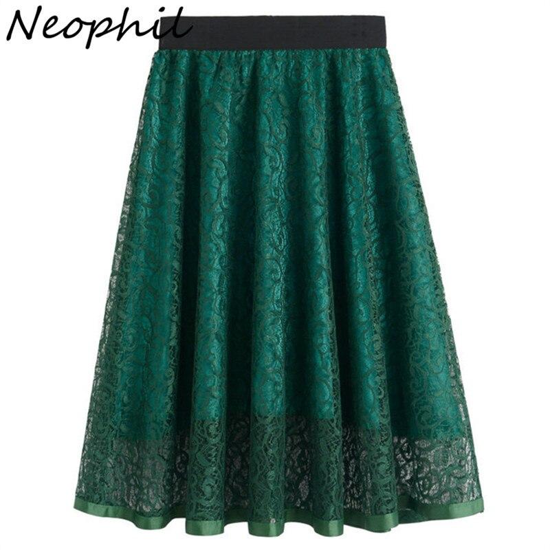 Neophil 19 Summer Ladies Embroidery Lace High Waist Pleated Midi Skirts Womens Vintage Elegant Black Pleated Tulle Saias S0601