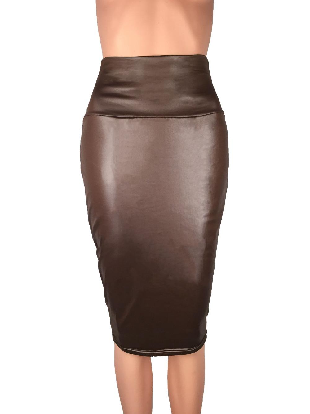 Bohocotol 19 pencil faux leather skirt women casual plus size clothing chic elegant sexy fitness black midi pencil skirts 2