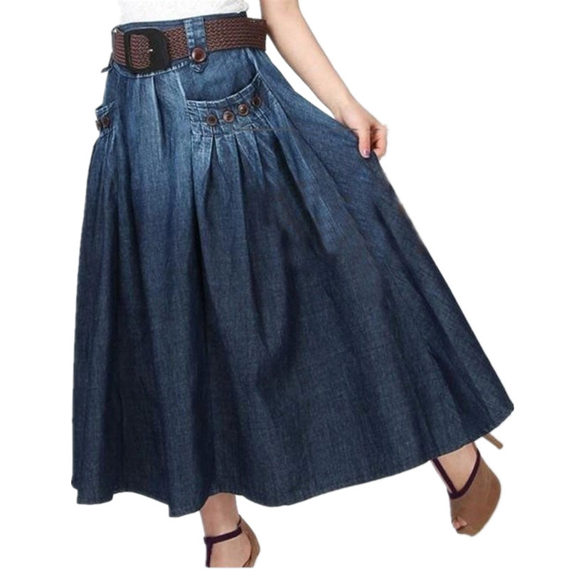 Free Shipping 19 Fashion Summer Denim All-match Loose Casual Jeans Skirt Elastic Waist Long Skirt For Women With Belt S-2XL