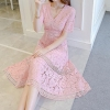 Free Shipping New Arrival Stylish V Collar Pure Color Lace Splicing Half Sleeve Woman Dress