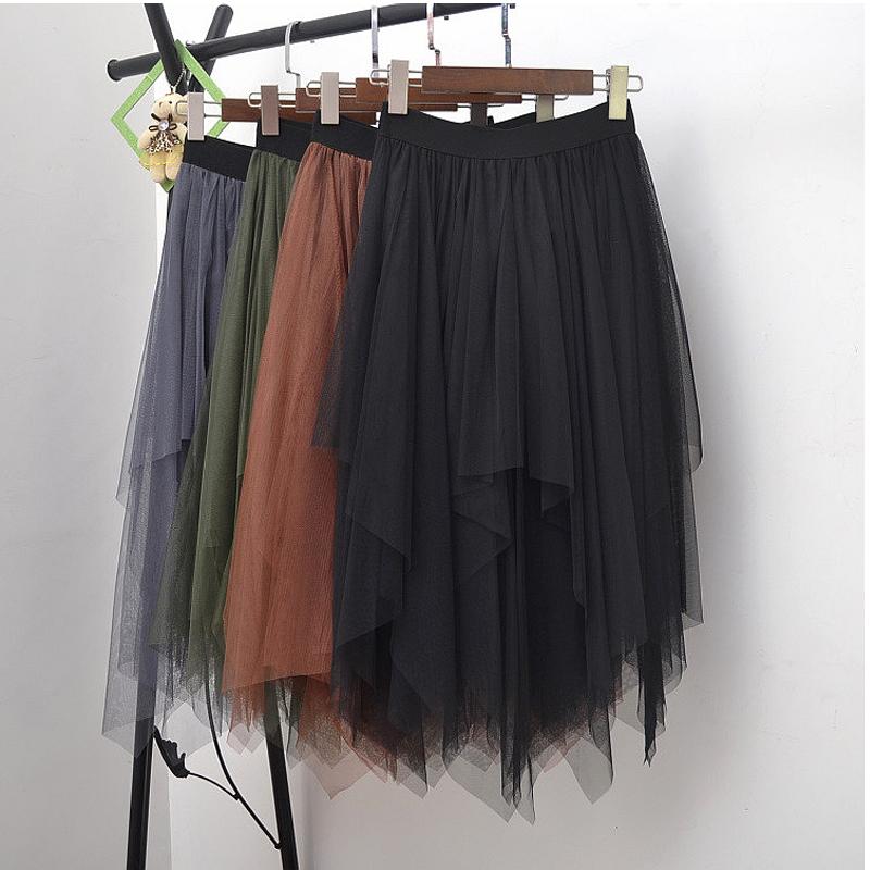 Long Tulle Skirt Women Fashion High Waist Irregular Hem Mesh Tutu Skirt 17 Summer Beach Skirt Ball Gown Ladies 2