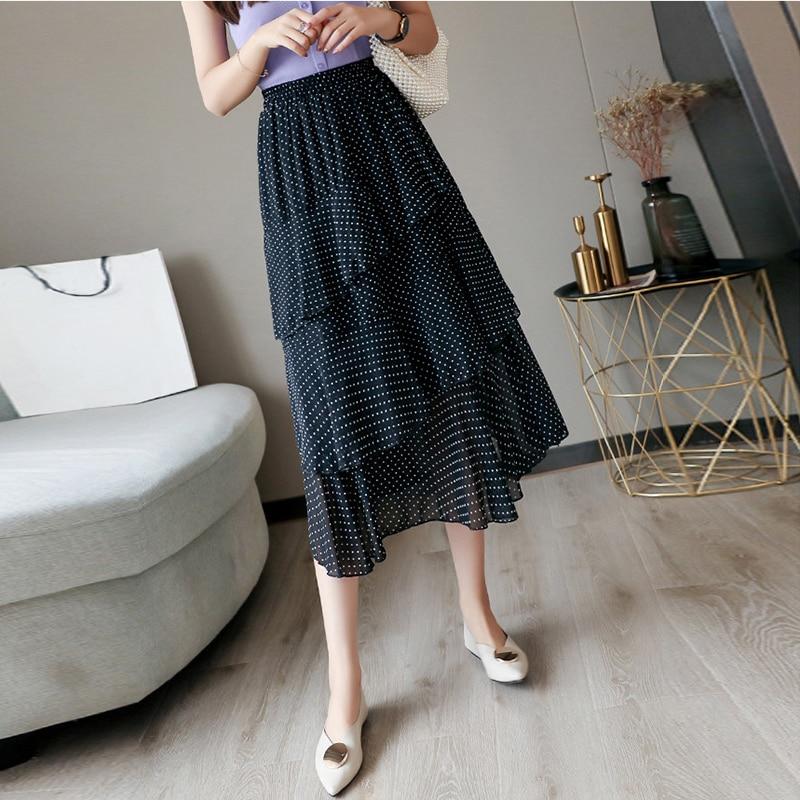 Jinsen Aite Plus Size 4XL Women Chiffon Skirt Dot Ruffles Maxi Skirts Beach Bohemian Skirts Vintage Elegant Faldas Saia JS491 3