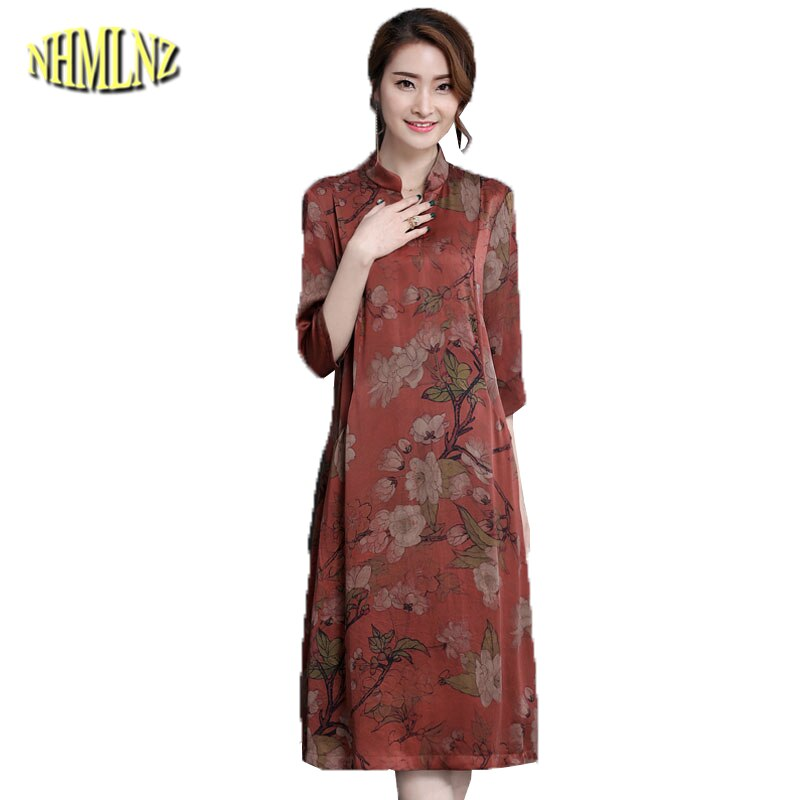 M-4XL Large size Middle-aged Women's Dresses Summer  Elegant Slim Dress Stand neck Half sleeve Printed Dress Vestidos DAN029 1