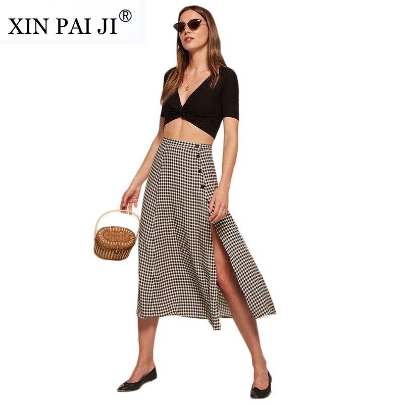XIN PAI JI Vintage Apparel Plaid Split Side Women Sexy Skirt Button Fitness Midi Skirt Casual Elegant High Waist A-line Skirts