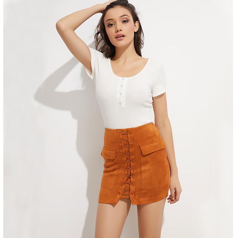 Colysmo Vintage Suede Skirt High Waist Pencil Skirt Winter External Pocket Faux Leather Skirts Womens Autumn Mini Skirt Saia New 2