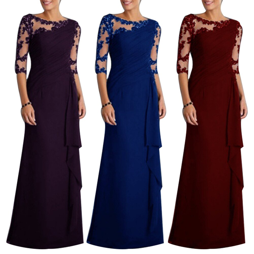 Wholesale Wedding Party See-through Lace Women's Formal Half Sleeve Pleated Maxi Dress 3