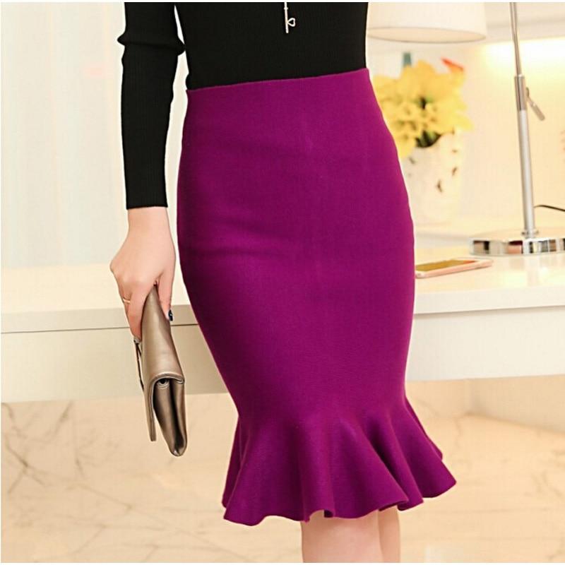high waist skirts womens 16 knit midi Fish Tail ruffles hip Skirt Saias Femininas FS0198 1