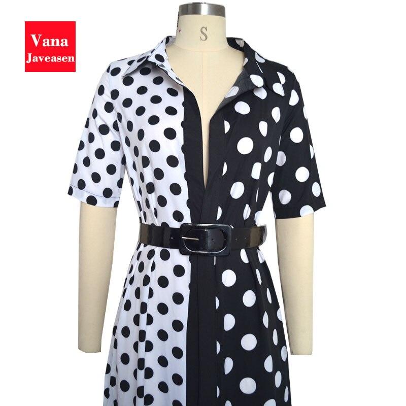 Vana Javeasen Autumn Half Sleeve Women Dress Dot Print V-Neck Woman's Clothing Sashes Evening Party Black Long Dresses Womens 2