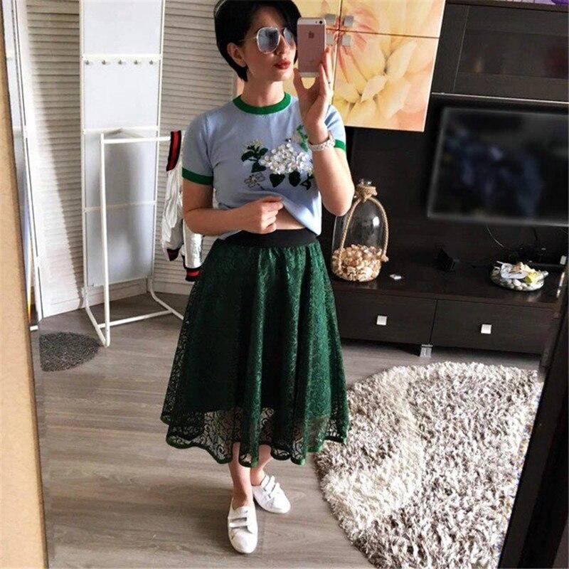 Neophil 19 Summer Ladies Embroidery Lace High Waist Pleated Midi Skirts Womens Vintage Elegant Black Pleated Tulle Saias S0601 2