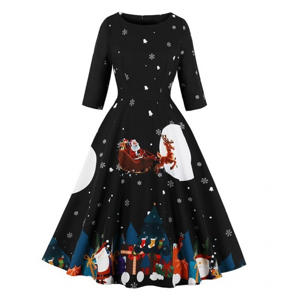 Christmas Dress Women Festival Santa Claus Print Autumn Winter Vestidos Robe Plus Size Half Sleeve Zipper Vintage Party Dresses