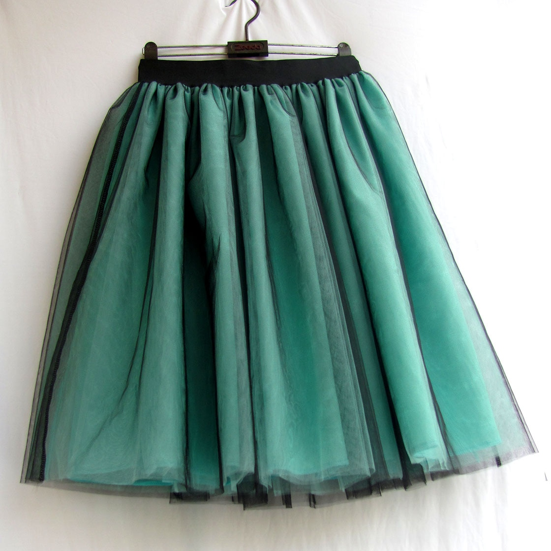 Green Tulle Skirt Womens Ball gown Lace Casual Empire 6 layers Black Fashion Skirt Long Autumn Tutu Skirts Summer Custom made 1