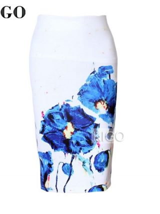 KIGO Womens Pencil Skirts Floral Print Sexy Slim High Waist Women Bodycon Skirt Ladies Vintage Midi Skirt Jupe Femme KD2967H