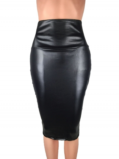 Bohocotol 19 pencil faux leather skirt women casual plus size clothing chic elegant sexy fitness black midi pencil skirts