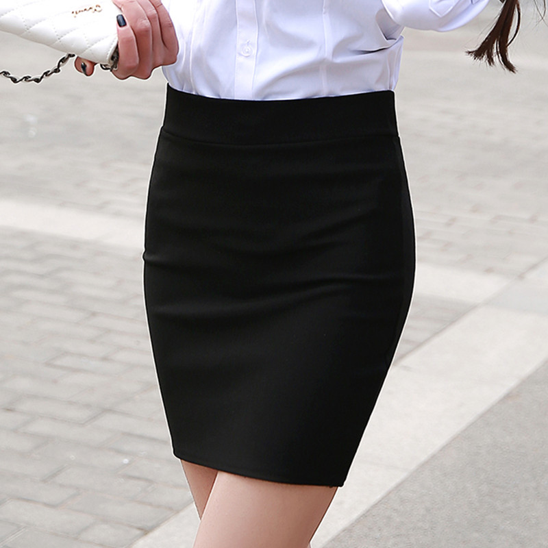 1 pc spring and summer Women Skirt High Waist Pencil Skirts Elastic Slim Office Black and plaid Skirt Two styles 3
