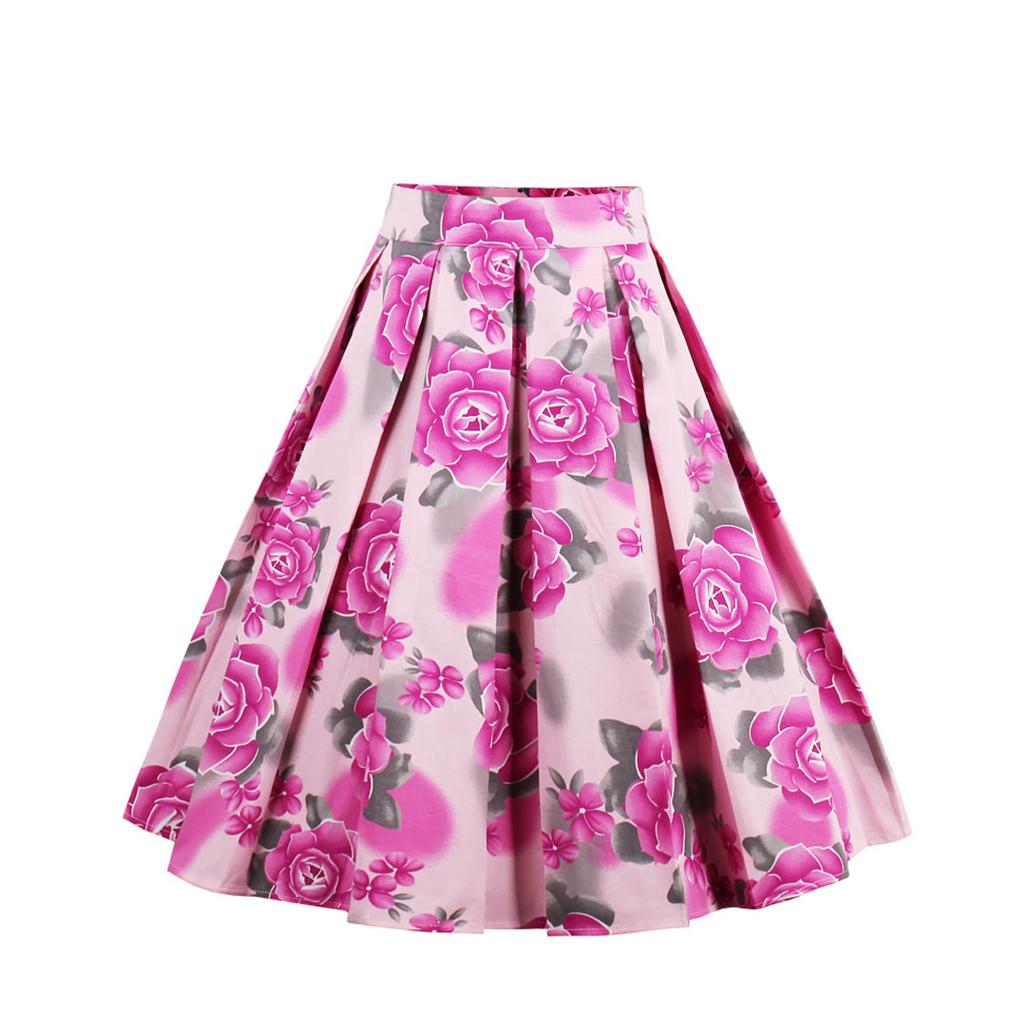 New 4 color Bohemian Summer Vintage Skirt Wop loose Woman Girls Print Retro Ball Gown Skirt Femininos Casual Sexy Swing Vestidos 2