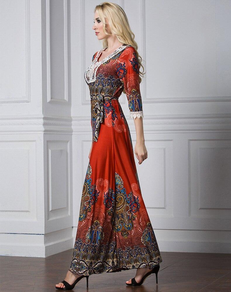 Floral Bohemian women long dress large size half sleeve maxi dress plus size lace v-neck summer dress large vestidos L-7XL 3