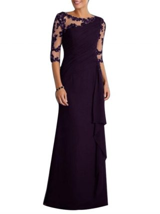 Wholesale Wedding Party See-through Lace Women's Formal Half Sleeve Pleated Maxi Dress