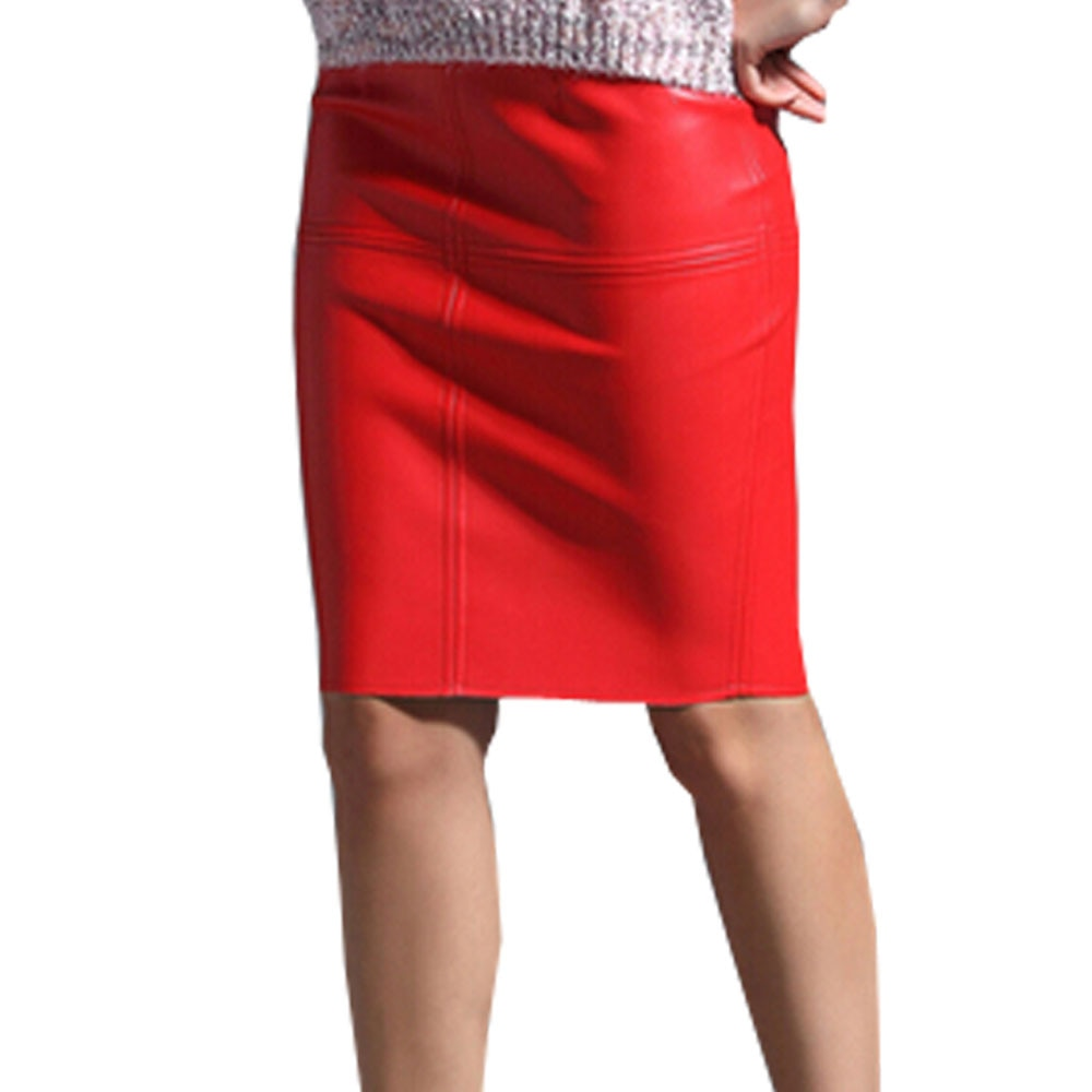KoHuiJoo Sexy Leather Skirt Women Slim Solid Pencil Skirts Ladies High Waist Knee Length Blue Pink Faux Leather Skirt Black Red 2