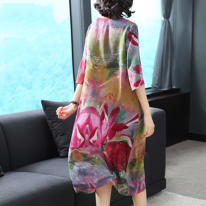 Imitate Real Silk Dress Plus Size New Spring Summer Women Dress Loose Half Sleeved Print A-line Dresses Beach Casual Clothes 2