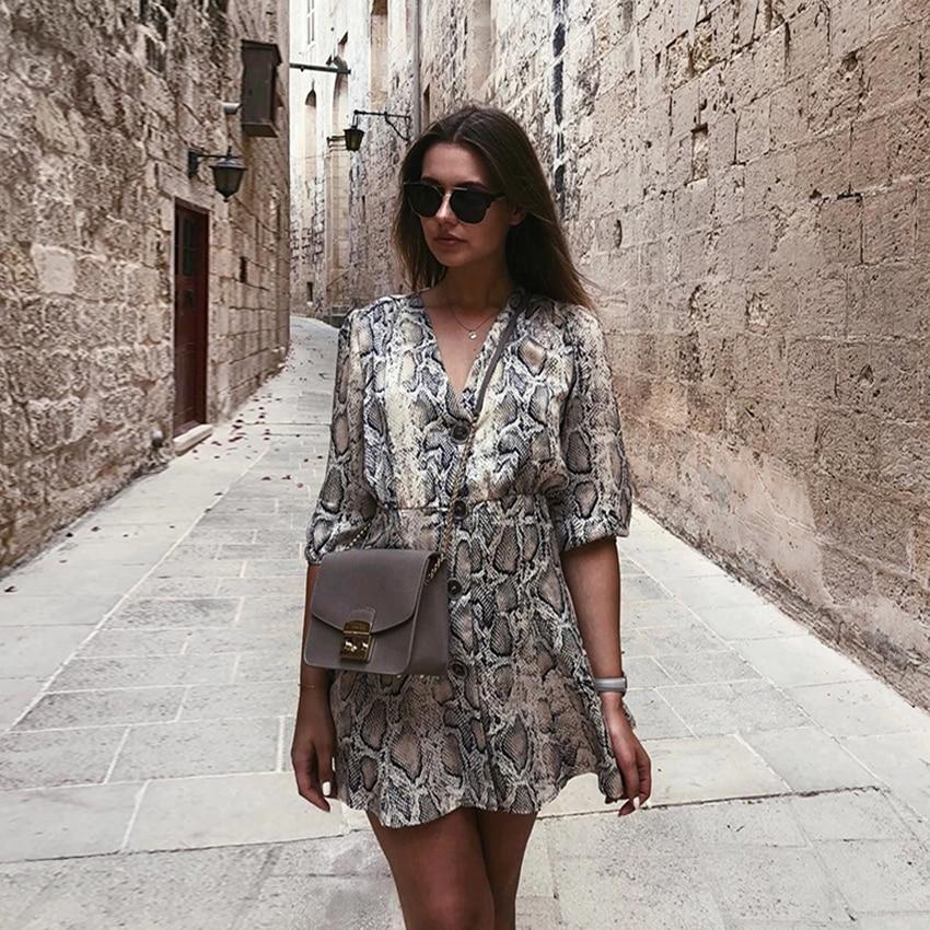 New High Street Women A-line Dresses Snakeskin Printed Half Sleeve Button Dress 2