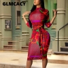 Plus Size Women Vintage Printed Bodycon Dress Casual Office Ladies Elegant Half Sleeve Knee Length Dress Party Club Vestidos