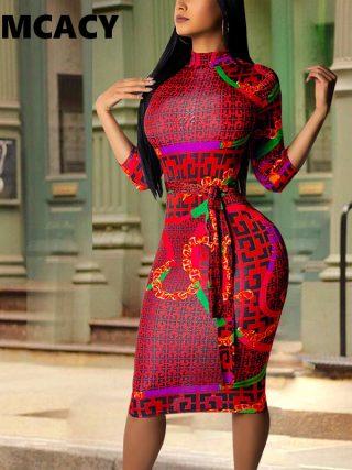 Plus Size Women Vintage Printed Bodycon Dress Casual Office Ladies Elegant Half Sleeve Knee Length Dress Party Club Vestidos