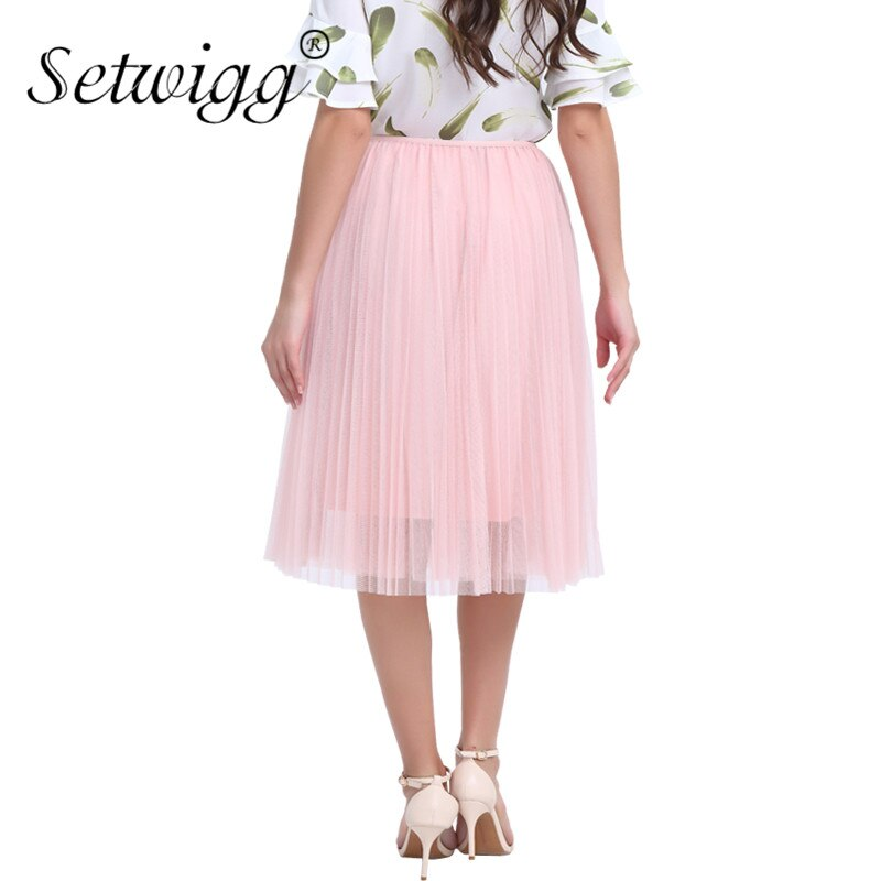 SETWIGG Sweet Pink Layered Tulle A-line Long Pleated Spring Skirts Elastic Waist Puffy Mid-calf Skirts Summer SG5101 3