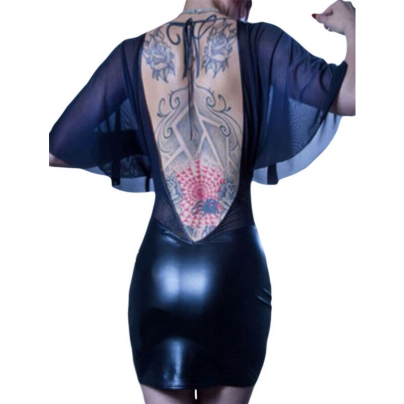 Transparent Gauze Vinyl Leather Patchwork Clubwear Sexy Deep V-Neck Flare Half Sleeve Part Dress 17 Women Night Club Vestidos 3