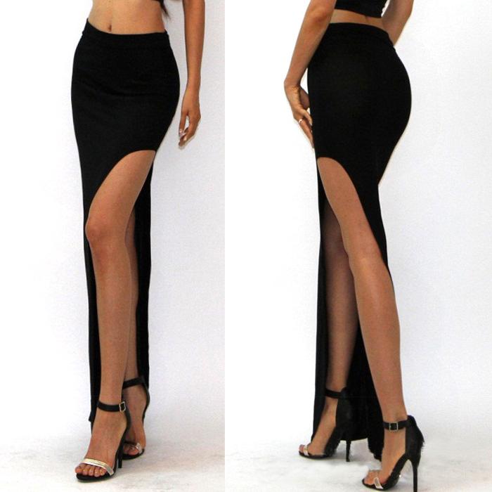 15 New Fashion summer style Skirt Sexy Women Long Skirts Lady Open Side Split Skirt Long Maxi Skirt Khaki/Black Free Size