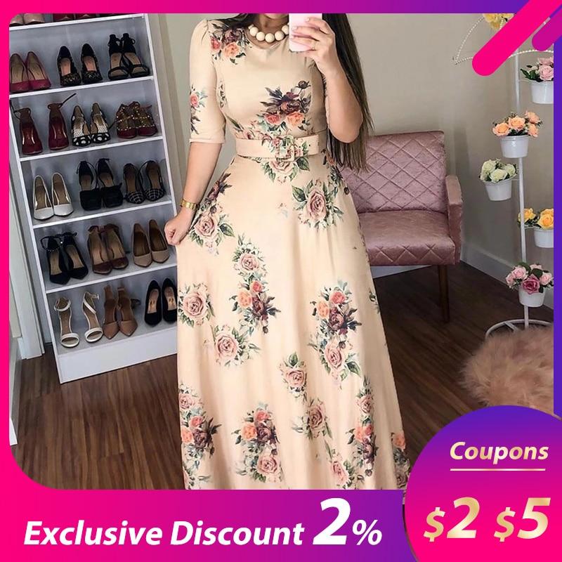 Women Summer Dress 19 Casual half Sleeve Long Dress Boho Floral Print Maxi Dress Elegant Dresses 1