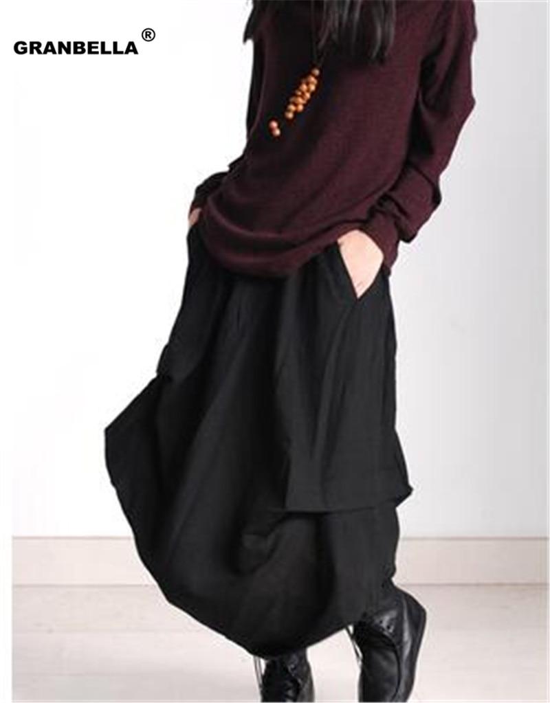 Original design European casual style Linen skirts casual style asymmetrical Women cotton linen skirts 1