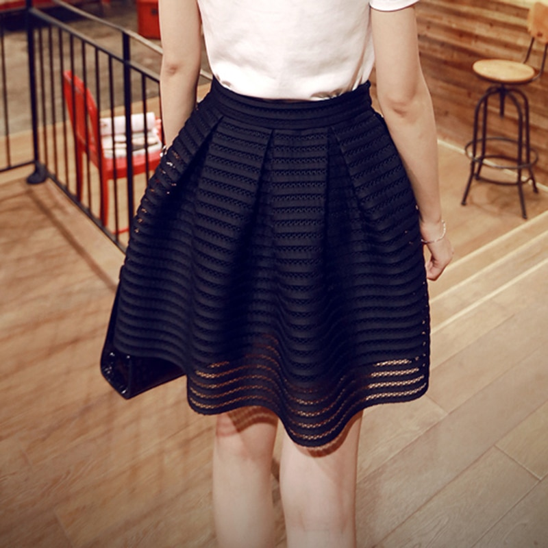 17 Summer New Style Sexy Fashion Skirt Womens Striped Hollow-out Fluffy Long Skirt Swing Skirts Ladies Black/White Ball Gown 1
