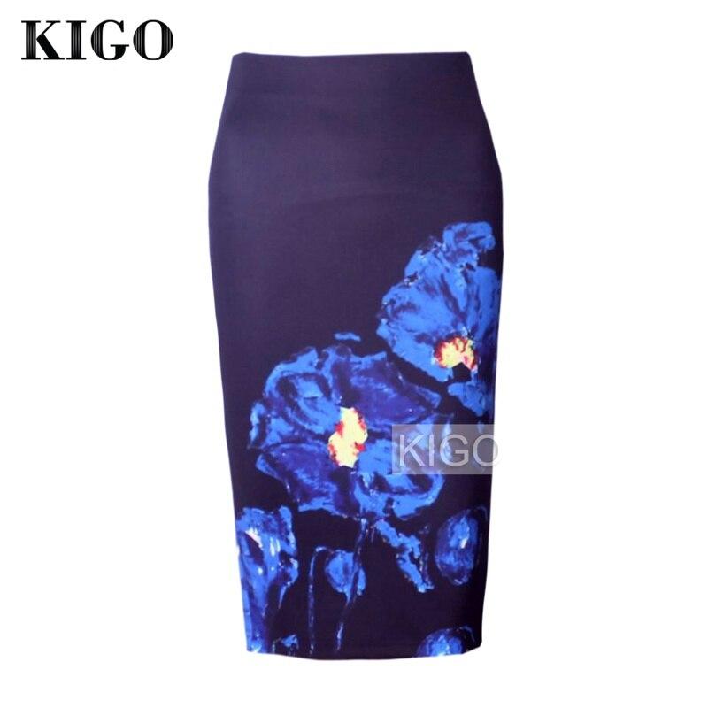 KIGO Womens Pencil Skirts Floral Print Sexy Slim High Waist Women Bodycon Skirt Ladies Vintage Midi Skirt Jupe Femme KD2967H 2