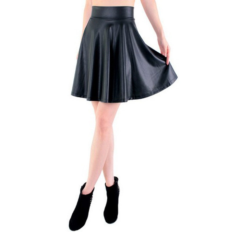 free shipping new high waist faux leather skater flare skirt casual mini skirt knee length solid color black skirt S/M/L/XL 1