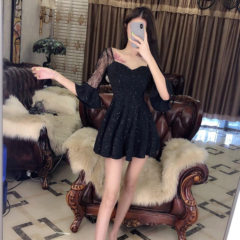 Sexy Black Half Sleeve Short Dress Party Stitching V-Neck Transparent Dress High Waist Lace Flare Sleeve A-Line Dress 1